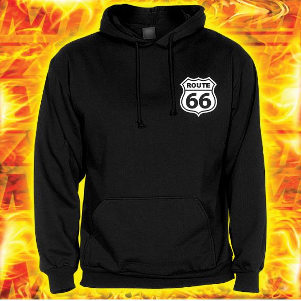 49f8bc1ee50 Mikina s motivem Route 66 s kapucí